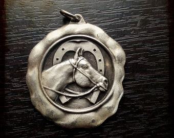 Vintage French Equestrian Horse silver Medal - horse race souvenir medal from France