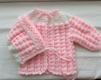 Sweater set Newborn color pink and white