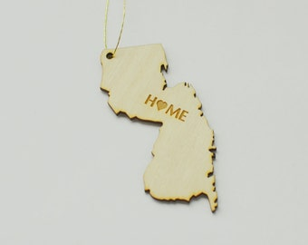 Natural Wood HOME New Jersey State Ornament