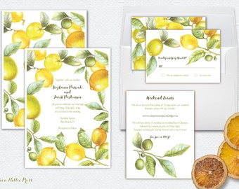 Lemon, Citrus, Orange, Lime WEDDING INVITATIONS -- Florida/California/Italy/Citrus Grove Inspired-Watercolor, Handpainted, Fruit, Botanical