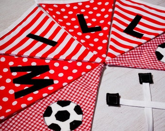 Football Flag Bunting - Boys Name Flag Banners - Personalised