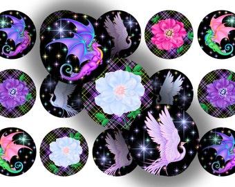 Fantasy Dragons 1 inch circle bottle cap images digital
