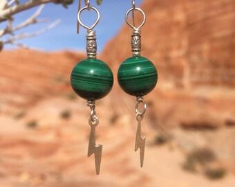 malachite earrings. PLANETARY FLASH. green earrings. silver earrings. lightning earrings.  outer space earrings. redhead earrings. natural.