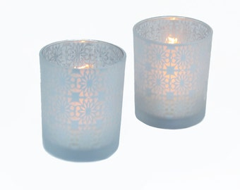 Glass Frosted Clear and Silver Votives Set of 2 Wedding Table Decor