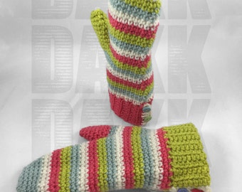 Crochet Colorful Stripes Mittens - school age