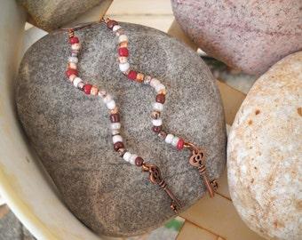 Boho Style Antique Copper Wavy Wire Beaded Earrings