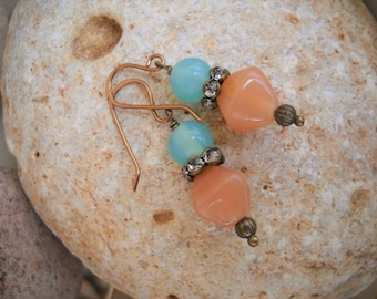 Vintage Style Antique Brass Light Turquoise and Light Amber Beaded Earrings
