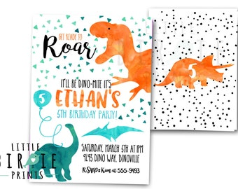 DINOSAUR INVITATION DINOSAUR Birthday Party Invitation Dinosaur Birthday Party Printable Invitation Watercolor Dinosaur Invitation