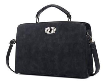Office Black Wiman Fashion Bag Rectangular Suede Sling Bag