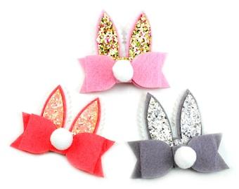 Bunny Ears with Bow Applique, Bunny Ears Baby, Easter Applique, Easter Felties, Bunny Feltie, Easter Bow, Easter Hair Bow, Easter Hairbow