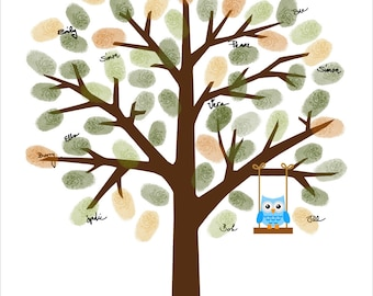 Baby Shower Guestbook, Fingerprint Guest Book with baby owl on the swing Fingerprint Tree - Customized Baby Boy - DIGITAL PRINTABLE JPEG