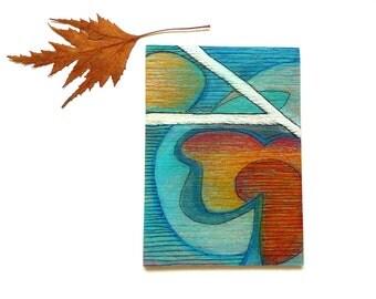 Rustic wood art aceo - original mini painting on Wood, mixed media art