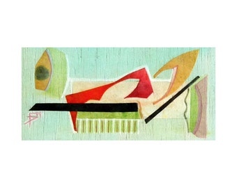 Contemporary art, collage art card, gift for her, original cut-out artwork