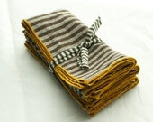 striped napkins brown and cream edged in yellow 100% linen  set of four