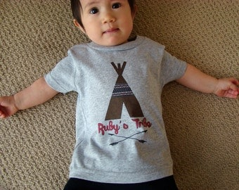 Personalized Name Tribe infant toddler shirt, Teepee Arrow top, Tribe tops and tees, Baby unisex tribe gift, one year old gift