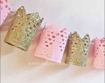 Princess Party Banner, Pink & Gold Glitter Lace Crowns, Birthday Party Decorations, Baby Girl Shower Photo Prop, Dessert Table Backdrop