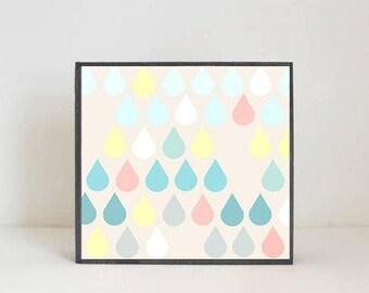 boho nursery, raindrop nursery art, baby girl nursery decor, gender neutral baby, baby room art, art block, raindrops, redtilestudio