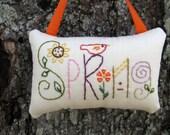 FUN Spring Ornament, Hand Embroidery, Red Bird, Bird House, pink purple orange, Garden Flowers, Primitive Spring Decoration, Door Hanger