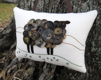 Irish Sheep Pillow, St. Patricks Day, Primitive Ireland Sheep, Hand Embroidery, Vintage Buttons, Unique Brown Black Sheep, Spring lamb, knit