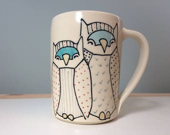 Custom Order for Aileen - XL Coffee Mug with Owls