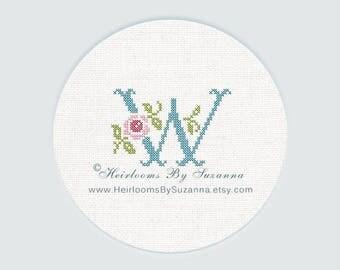 "Antique Rose Monogram, Machine Cross Stitch Initial, Floral Font, Machine Embroidery, Decorative Font, Block Letter ""W"" - HBS-ROSEMNGR-W"