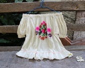 M-XL Short Sleeves Bohemian Embroidered Top - Ivory II