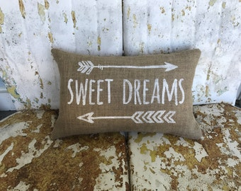 Burlap Pillow SWEET DREAMS and Arrows  Burlap Pillow Throw Accent Pillow Custom Colors Baby Shower Nursery Kids Room Decor