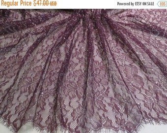 ON SALE Plum with Silver Chantilly Style Lace Fabric--One Yard