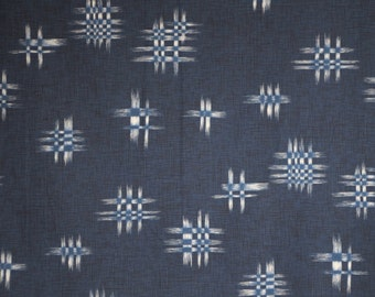 White on Indigo Blue Ikat Design Indigo Summer Natsu Print Pure Cotton Fabric--By the Yard