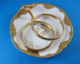 Italian Bangle Bracelets, Sterling Silver 18K Gold Vermeil, Set of 2, Signed LIRM