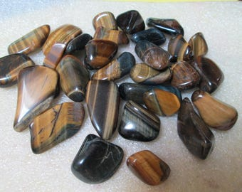 1/4 Pound Lot of 30 Small Gold,Hawkeye, and Blue Polished  Tiger Eye Nuggets