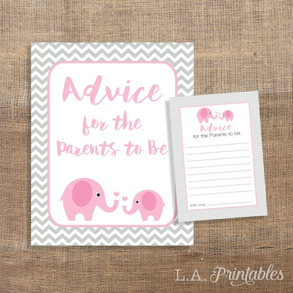 be cards sign pink elephant grey chevron baby shower activity baby
