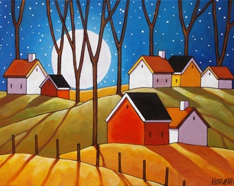 Autumn Night Full Moon Cottages Art Print, 8x11 Folk Art Night Countryside Trees Landscape Reproduction Artwork by Cathy Horvath Buchanan