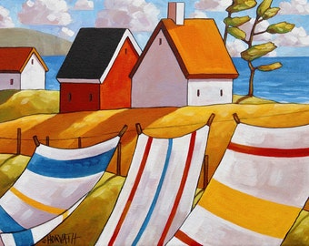 Coastal Cottage Art Print by Cathy Horvath, 5x7 Folk Art Giclee, Summer Breeze Seascape, Laundry Ocean Wind, Archival Artwork Reproduction