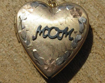 Vintage Gold Fill Mom Heart Locket Pendant Women's Ladies Vintage Jewelry