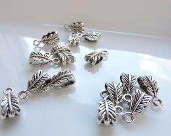 5pcs Antique Silver Connector Leaf Bail Findings for focal necklace, pendants, charm bracelets Lovely ornate detail