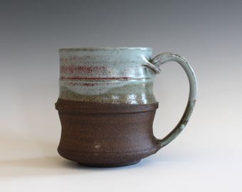 Pottery Mug, 14 oz, handmade ceramic cup, handthrown mug, ceramic stoneware, pottery mug, unique coffee mug, ceramics and pottery