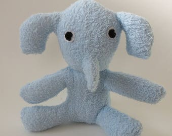 Light Blue terrycloth baby elephant stuffed animal
