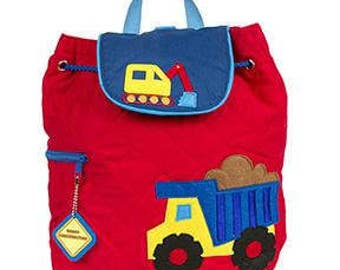 Personalized Monogrammed --New Pattern- Stephen Joseph Kid Quilted Red Construction Dumptruck Backpack--Free Monogramming--Fast Turnaround