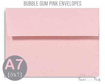 BUBBLE GUM PINK A7 Envelopes, 5x7 Invitation Envelopes, 5x7 Envelopes, Pink Envelopes, Peel and Press Envelopes, Wedding Envelopes