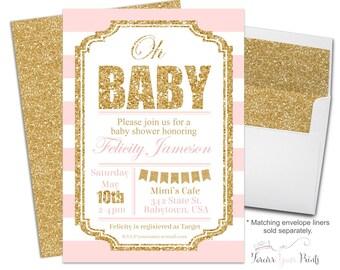 PINK & GOLD Baby Shower Invitation - Girls Baby Shower Invite - Glitter Baby Shower - Printable Baby Shower - Striped Baby Shower - Oh Baby