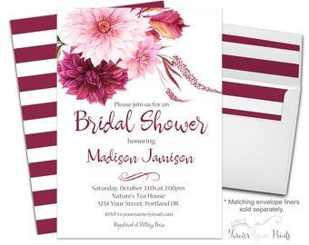 BURGUNDY Floral Bridal Shower Invitations, Floral Bridal Shower Invites, Shower The Bride Invites, Burgundy Wedding Invitations, Flowers