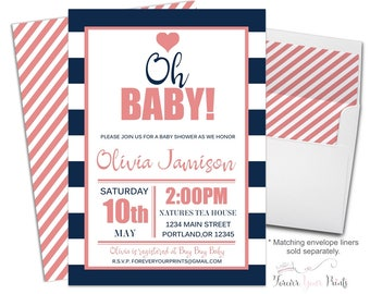 CORAL & NAVY Baby Shower Invitation - Baby Shower Invitation Girl - Baby Sprinkle Invitation - Girl Baby Shower Invite - Oh Baby Invite