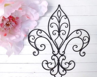 MEGA SALE Metal Fleur de lis Wall Decor / Shabby Chic Home / Black Wall Decor / Wrought Iron / Bedroom Wall Decor / Kitchen Decor