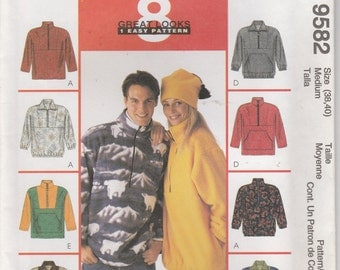 Fall Jacket Pattern Pullover Front Pocket Hat Uncut Misses Size Medium Mens Size 38 - 40 Uncut McCalls 9582