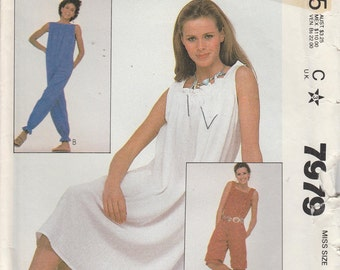 Jumpsuit Pattern Pullover Dress 1982 Misses Size 6 - 8 uncut McCalls 7979