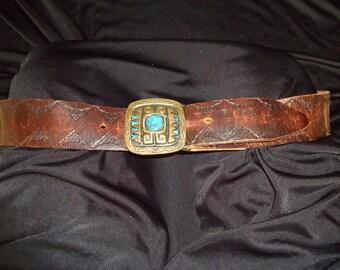 Heavy Brass Ethnic Western Buckle Vintage 1960's Men's Stamped Leather Belt L