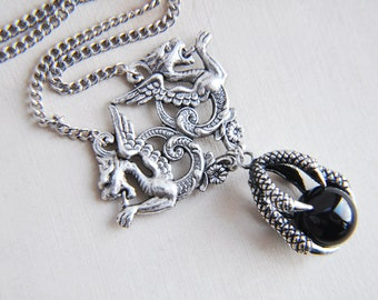 Dragon Necklace, Double Dragon Necklace, Dragon Claw Necklace, Claw Necklace, Black Onyx Necklace, Black Necklace, Silver Dragon Necklace