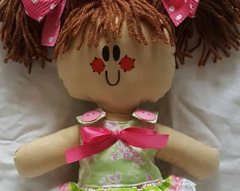 "LillieGiggles Lighter Shade of Brown Baby Rag doll named Spring stand 12"" handmade cloth doll"