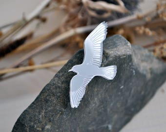 Seagull brooch - mirror acrylic bird brooch, mirror silver seagull brooch, mirror bird brooch, mirror perspex brooch seagull - ready to ship